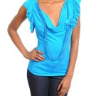 Ladies size large blue cowl neck blouse with attached beaded necklace