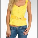 Ladies size medium yellow sleeveless blouse with belt women's top LOCBOX
