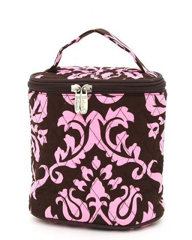 Belvah quilted damask print brown & pink lunch bag box DAQLT13(BRPK) BS399