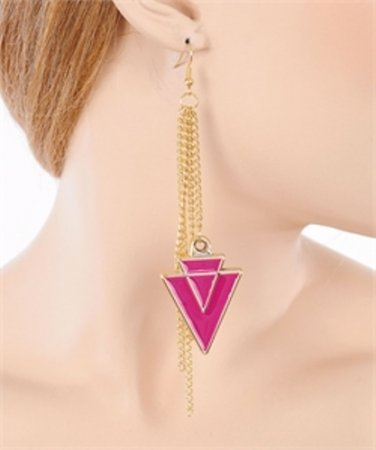 Ladies gold tone chevron look earrings w/ acrylic pink stones FS55 jewelry
