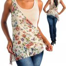 Ladies small tan & floral blouse CN102893-540 6718-S LOCBOX