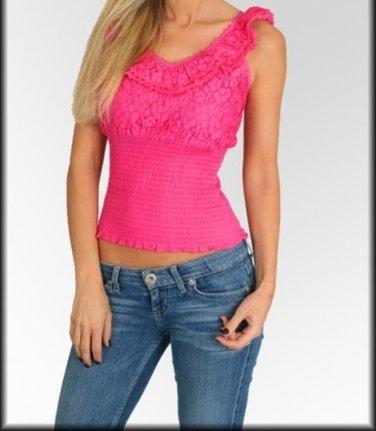 Ladies medium  sleeveless pink diecut blouse by Crea top