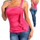 Ladies small mauve one shoulder blouse