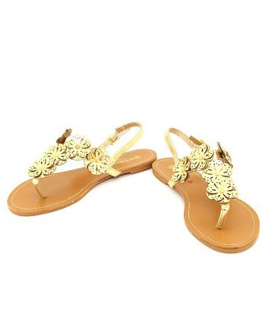 New boxed gold flower accent sandals ladies size 6 shoe size six BS500B