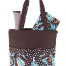 Quilted floral 3 piece diaper bag QF1103L(BRTQ) BS795