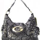 Gray and black G style studded handbag rhinestone purse LA1399