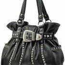 New ladies solid pattern buckle accent handbag purse WSL013(BLACK)