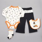 Baby girls 4 piece Halloween set size 12 months pants bib socks shirt B639