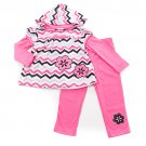 New baby girl 3T chevron print hoodie and pants set B799