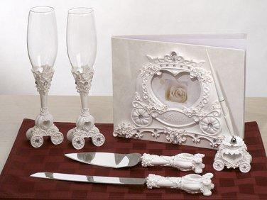 Cinderella coach wedding guest book, pen set, toasting glasses and cake knife server set