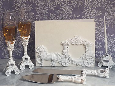 White Coach 7 pc. wedding set guest book, pen set, toasting glasses and cake knife server set