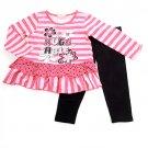 "New girls size 2T toddler pink ""Huggable"" leggings set B559 pants top"
