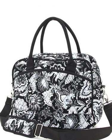 Belvah quilted floral pattern laptop case notebook bag QF27RL46(BKWH) BS500