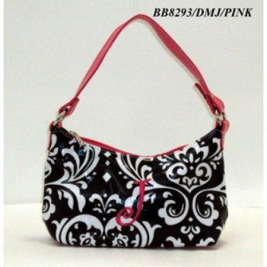Damask print initial J junior girl's handbag monnogramable purse