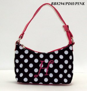 Polka Dot initial H junior girl's handbag monnogramable purse
