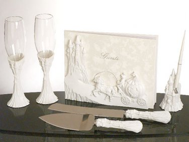 Enchanting Castle 7pc wedding set guest book, pen set, toasting glasses, cake knife & server