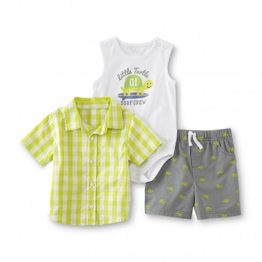 Baby boys 6/9 months 3 piece set Bodysuit Shirt & Shorts - Turtle B599