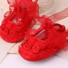 New  baby girl's 3-6 months red crib shoes w/ lace & rosettes infant size