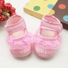 New  baby girl's 6 to 9 months pink crib shoes w/ lace infant size C120