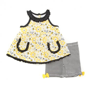 New baby girls size 12M sleeveless summer shorts set B594 bees and flowers