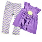 New girls size 2T leggings set chevron pants & purple top w/ rose applique B559