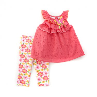 New girls size 2T leggings set eyelet ruffled top & pants B559 baby outfit B559