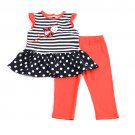 New girls size 3T leggings set ladybug applique top with pants baby outfit B559