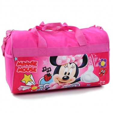 "Girls 18"" pink Minnie Mouse canvas duffle bag Disney PK750"