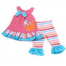 New girls size 24M summer leggings set ruffle detail and crab applique B832