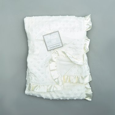 Baby girl boy ivory white popcorn blanket with satin trim crib bedding