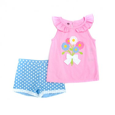Girls size 6 pink glitter print flower top and shorts set