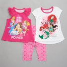 Girls size 2T 3 piece Disney Princess leggings set 2 tops plus pants B600