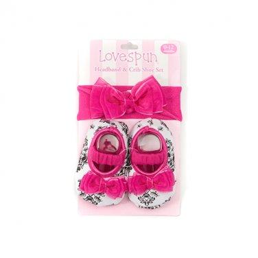 Baby Girl Lovespun Damask Headband & Crib Shoe Set