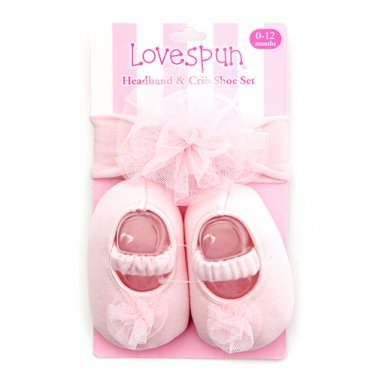 Baby Girl Ballerina Headband & Crib Shoe Set