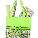 NEW BELVAH QUILTED FLORAL PATTERN 3PC DIAPER BAG QBF1103L(LM) BABY GIFT