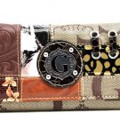 Ladies G style patchwork wallet zipper pocket credit card slots KW190BR OS