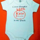 Personalized monogram name & age baby Halloween 3-6 months bodysuit