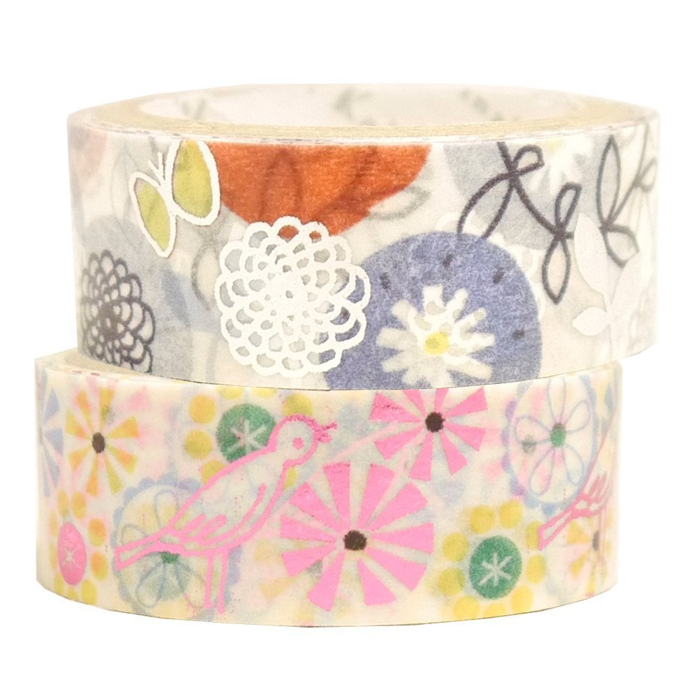 Masking Tape By Shinzi Katoh Set of 2 - Birds and Flowers