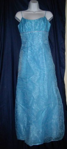 Morgan and Company 5/6 Small Spaghetti Strap Blue Polyester Overlay Prom Dress