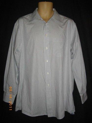 Burberrys Mens 16-1/2- 33 White Stripe Cotton Long Sleeve Button Front Shirt