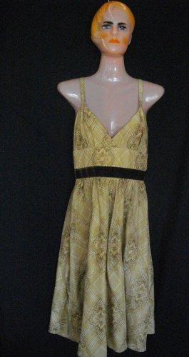 Max and Cleo 4 Small Goldish Brown Halter Silk V Neckline Sleeveless Dress
