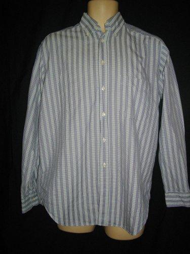 Bagutta 40 15-3/4 Blue Stripe Button Down Career Dress Shirt