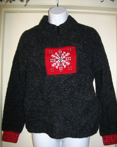 Christopher Banks Small S Black Red Polyester Acrylic Thick Snowflake Sweater