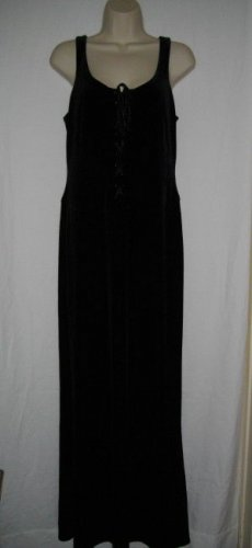 Papell Boutique Evening 12 Large Black Polyester Spandex Halter Scoop Neck Dress