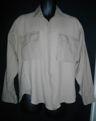 Pierre Cardin Medium Button Front Mesh Camel Cotton Long Sleeve Casual Shirt