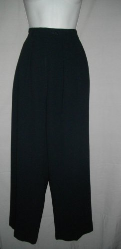 Giorgio Armani Le Collezioni Italy 44 USA 8 Wool Career Slacks Black Pleat Pants