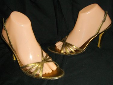 AK Anne Klein Gold Sandals Strappey Overlapping High Heels Leather Upper Shoes