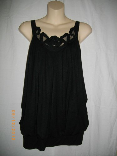 Vivienne Tam Black Halter Small Cami Lace Cut Work Sleeveless Pullover Tank Top
