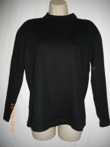 Adrienne Vittadini Medium Long Sleeves Scoop Neck Black Cotton Pullover Top