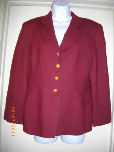 Saville 8 Medium Wool Jacket Career Sleeve Single Breasted Wine Burgundy Blazer
